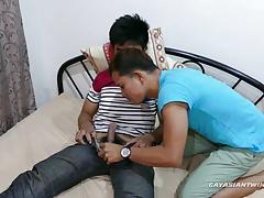 Straight Asian Boy Robin Gets Gay Blowjob