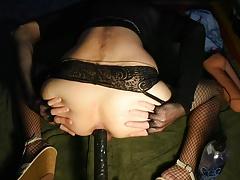 Deep anal gay black dildo machine fuck and gaping ass