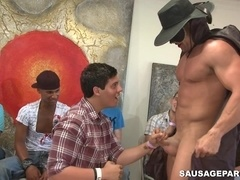 Sexy homo strips slowly at a party and enjoys a group blowjob