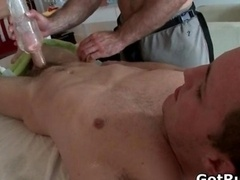 Hunky fella gets oiled up and moreover gay massaged
