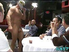 Boy sucking stripper at party