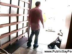 Gay gives boy a tugjob at a truck