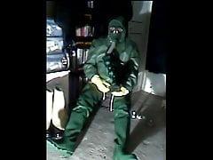 Green rubber wank.