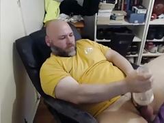 Big bear with fleshlight and cumming