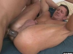 Sizeable ebony lad gets flag pole in white ass