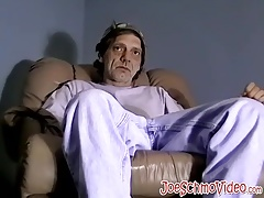 Horny old man takes his clothes off and pulls out his cock