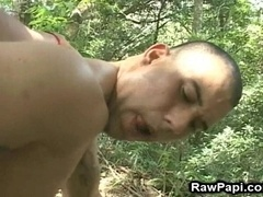 Two horny poofters enjoy sucking and riding cocks in the forest