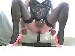 Crossdress Sissy Fucks Dildo In Pink Pumps