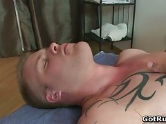 Hot muscled guy gobbling up