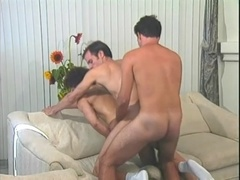 Curly-haired fairy blows and gets his ass smashed by two lads