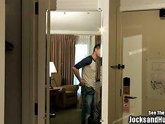Justin in the shower when Turk sneaks in