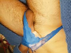 Hairy arab guy cums in cobalt blue thong