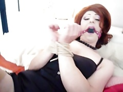 Tranny tied and teased
