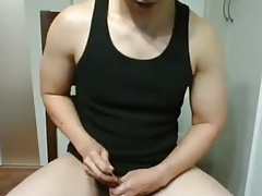 Chinese guy sounding his dick