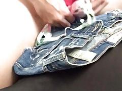 Using cute bra and jean shorts multiple cum