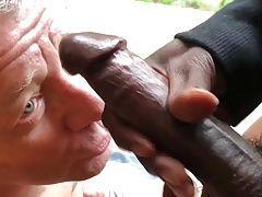 Fag Sucks Off a Big Black Cock Gets Huge Cum Facial