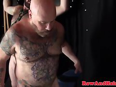Bondage bears spitroasting in chubby threeway