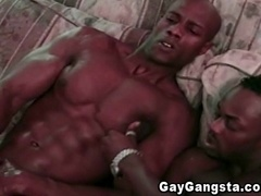 Two muscular black gays enjoy pounding each other's butts