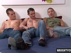 Brunette gay threesome and cumshot