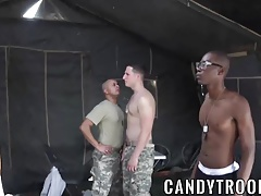 Hot army hunks fucking hard outdoor in this sexy orgy