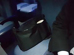 Jerking off on the bus. Big cum shot. Suit