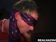 Blindfolded frat boy sucks cock and gets fucked anally