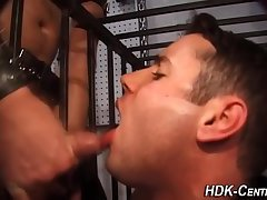 sperm Swallowing Caged man