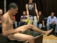 Muscular homosexual strips at a party and gets his dick sucked
