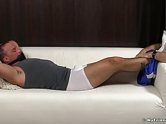 Mature dude Sebastian tied up for feet licking and sucking