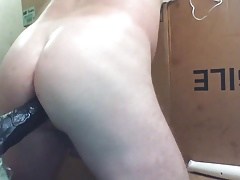 JoeyD up close wiggling smooth white butt on black cock