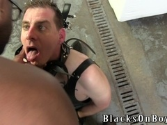 Gay called Slut Bottom Chris gets his ass toyed by a black dude