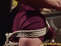 Cumcontrolled bound gay gets a handjob by dom