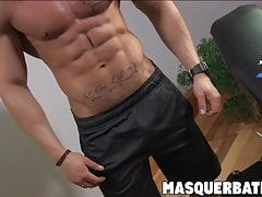 Muscular hunk with beard solo masturbating inside the gym