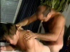 Gay daddy drills some dude's butt from behind after oral sex