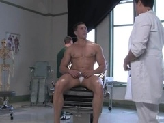 A well-built poof gets tortured and amazingly fucked by two doctors