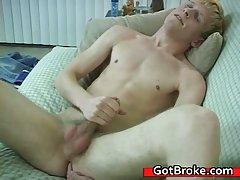 Blond Aiden masturbating
