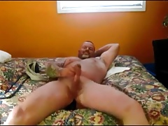 jerking my cock with long black dildo in my tight ass