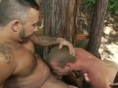 Two hunks fuck in the forest after having a hot battle