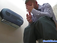 Office stud wanks cum while assfucked
