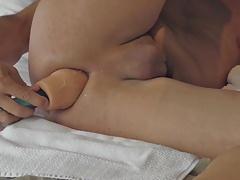 wanking dildo peeing  cumshot