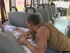 A duo horny hot guys bang in a bus