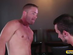 Gay deep throat and barebacking hard anal in couch