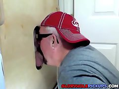 Cock hungry slut sucking delicious cocks in a gloryhole