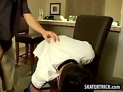 Skater hunk gets his ass slapped until it's red