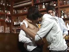 Passion-driven gay trio gives double BJs at a bar