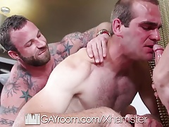 GayRoom Messy facial fuck in threesome with hunks
