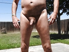 Peeing naked outdoors.