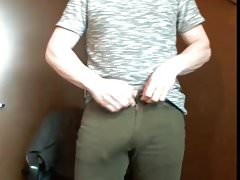 young dad shows off his big cock at the office