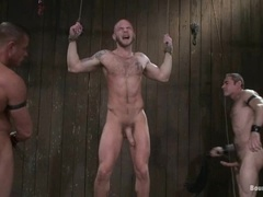 Bald gay gets his mouth and ass smashed by two studs in BDSM video