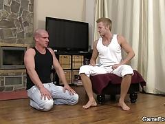 Hetero bald hunk riding horny gay cock